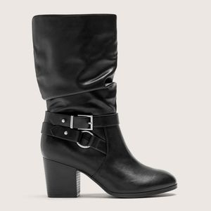 Shoes - Wide Width Mid Calf Boot Side Buckles Size 9.5